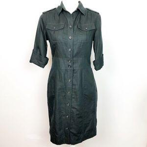 Banana Republic Shirtdress Black Hemp Blend 4
